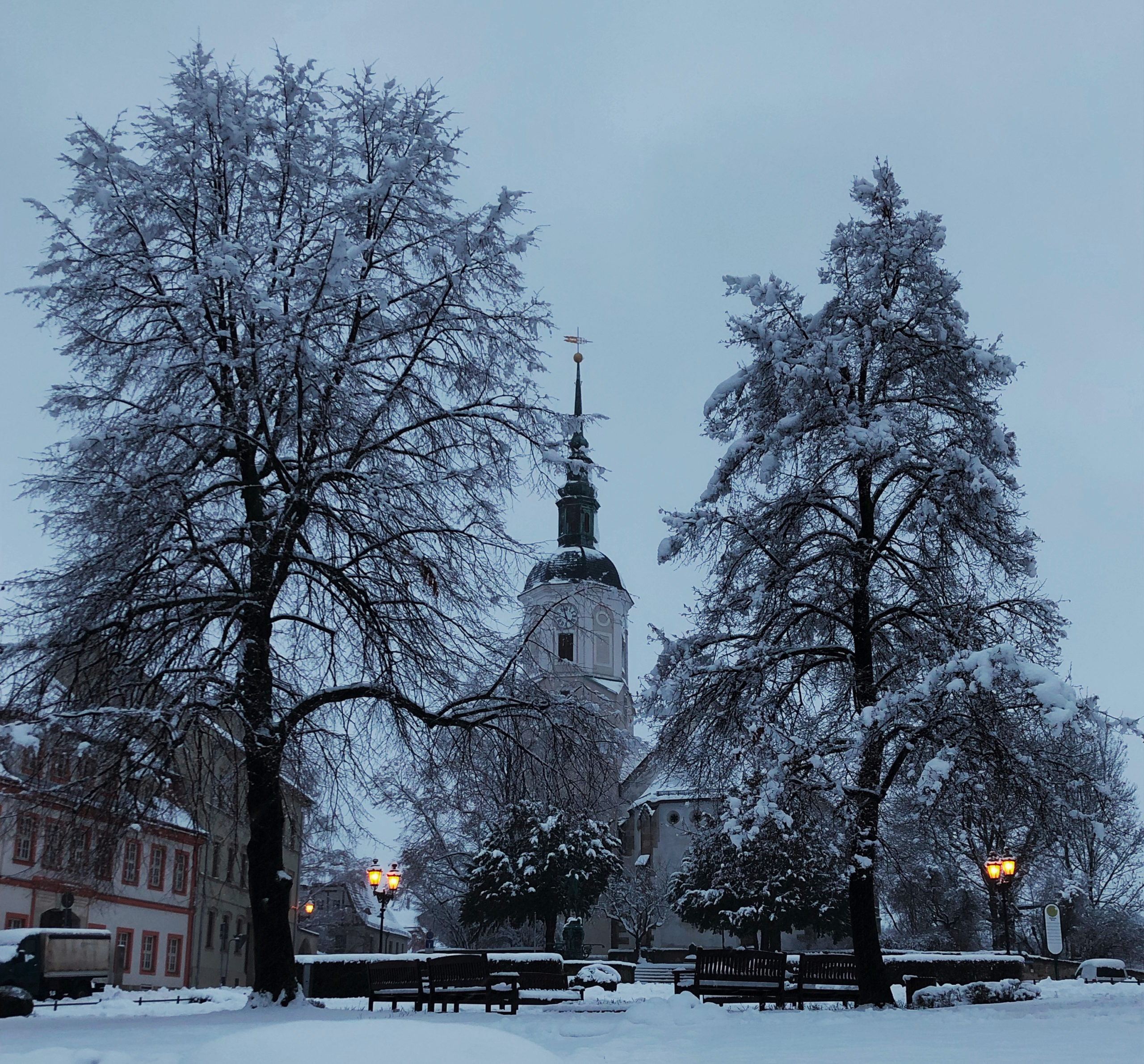 Winter Marktplatz Stadt Dohna Heiko Scholz